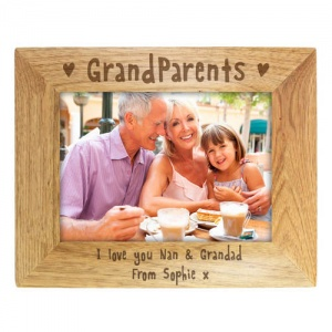 Personalised 7x5 Wooden Photo Frame - Grandparents