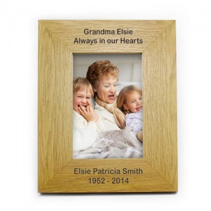 6x4 Oak Finish Portrait Frame - Long Message