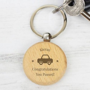 Personalised  Wooden Keyring - Car Motif