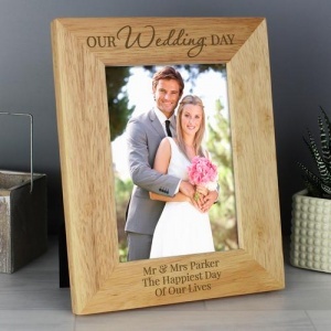 Personalised Wooden Photo Frame -  Our Wedding Day
