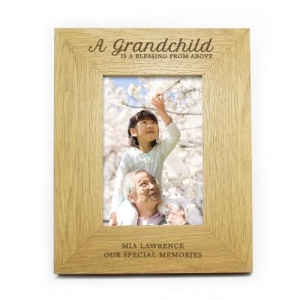 Personalised Oak Finish 4x6 Photo Frame - A Grandchild is a Blessing