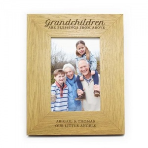 Personalised Oak Finish 4x6 Photo Frame -  Grandchildren are a Blessing
