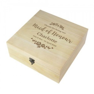 Personalised Any Role 'Floral Watercolour Wedding' Wooden Keepsake Box