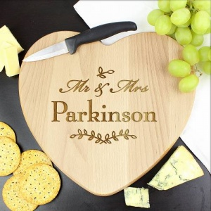 Mr & Mrs Leaf Heart Chopping Board