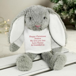 Christmas Bunny Soft Toy with Personalised Jumper