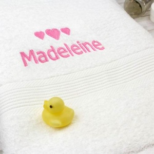 Personalised White Bath Towel - Pink Hearts