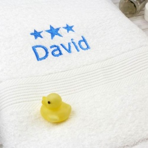 Personalised White Bath Towel - Blue Stars