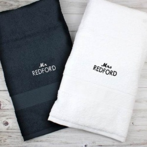 Personalised Black and White Bath Towel Set - Mr & Mrs