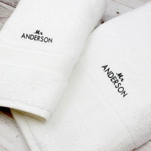 Personalised White Hand and Bath Towel Set - 'Mr'