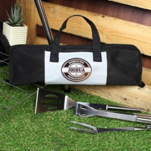 Personalised Bag with Stainless Steel BBQ Tools - Stamp