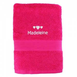 Personalised Bright Pink Bath Towel - Hearts