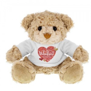 Teddy with Personalised T-Shirt - Valentine's Day Confetti Hearts