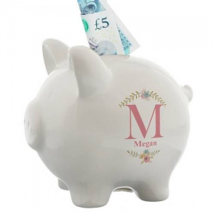 Personalised Piggy Bank - Floral Bouquet