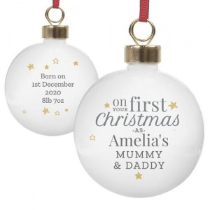 Personalised Ceramic Bauble - First Christmas as