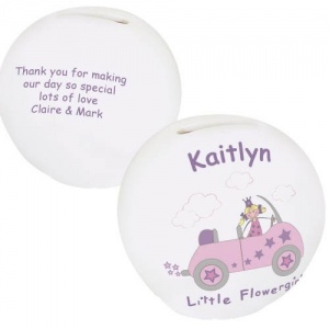 Bone China Money Box - Little Flowergirl in Car
