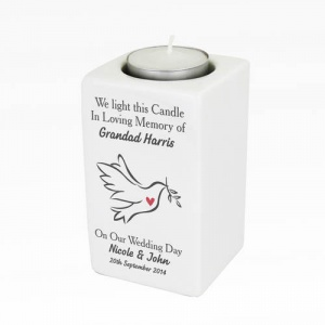 In Loving Memory Dove Ceramic Tea Light Candle Holder