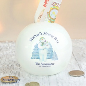 Personalised The Snowman & the Snowdog Money Box
