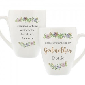 Personalised Floral Watercolour Latte Mug - Godmother