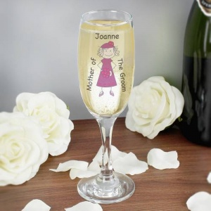 Cartoon Wedding Elder Lady Flute Glass