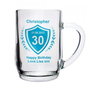 Personalised Glass Tankard - Age Crest