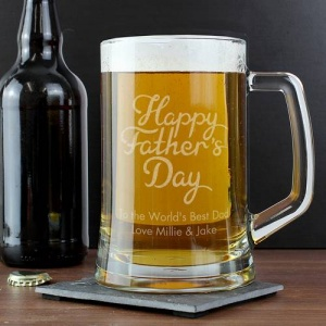 Personalised Glass Pint Stern Tankard - Happy Father's Day