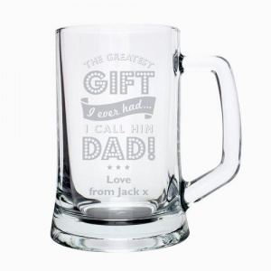 Personalised Glass Pint Stern Tankard - Greatest Dad