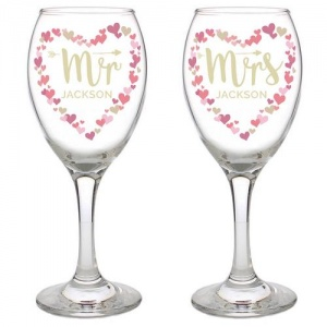 Personalised Mr & Mrs Pair of Wine Glasses - Valentine's Day Confetti Hearts