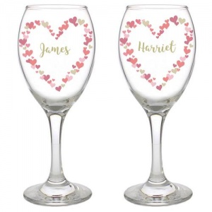 Personalised Pair of Wine Glasses - Confetti Hearts Wedding