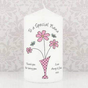 Personalised Candle - Flower in Vase