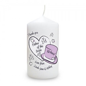 Personalised Candle - Butterfly Hearts & Hats Wedding Male Role