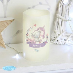 Personalised Nightlight LED Candle - Tiny Tatty Teddy & Baby Unicorn