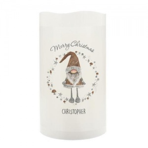 Personalised LED Candle - Scandinavian Christmas Gnome