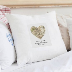 Personalised Cushion Cover - 1896-1904 Revised New Map Heart