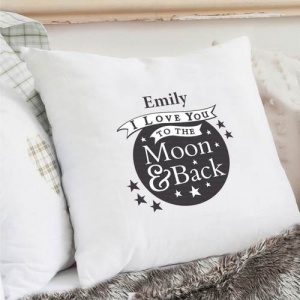 Personalised Cream Cushion Cover - To the Moon and Back...