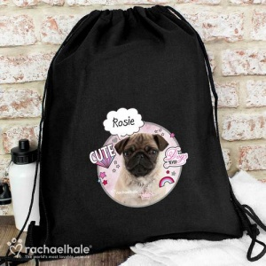 Personalised Black Swim & Kit Bag - Rachael Hale Doodle Pug