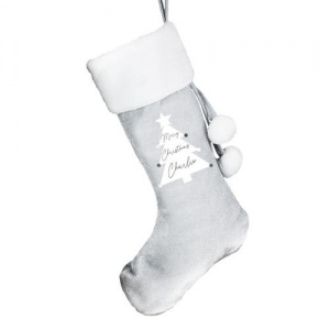Personalised Luxury Silver Grey Christmas Stocking - White Tree
