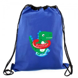 Personalised Blue School Swim/Kit Bag - Dinosaur