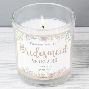 Personalised Jar Candle -  'Floral Watercolour' Bridesmaid