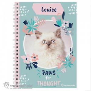 Personalised Rachael Hale A5 Notebook - Paws for Thought Cat