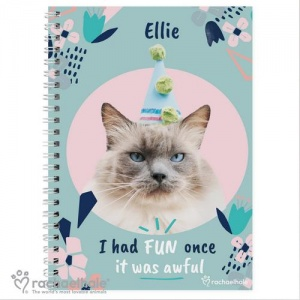 Personalised Rachael Hale A5 Notebook - I Had Fun Once Cat