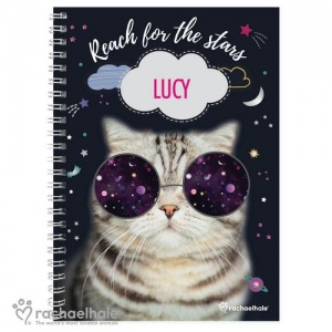 Personalised Rachael Hale A5 Notebook - Space Cat