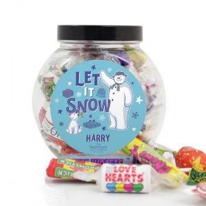 Personalised Sweet Jar - Snowman and Snowdog