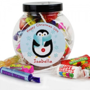 Personalised Sweet Jar - Felt Stitch Penguin
