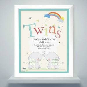 Personalised White Poster Frame - Hessian Elephant Twins