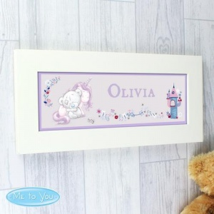 Personalised Name Frame - Tiny Tatty Teddy and Baby Unicorn