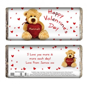 Cute Teddy & Heart Chocolate Bar
