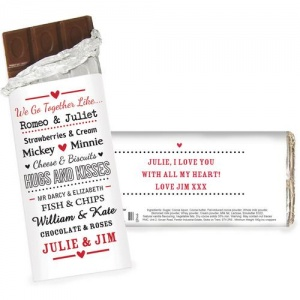 Personalised Milk Chocolate Bar - Couples