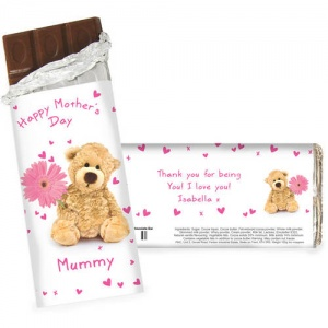 Cute Teddy & Flower Chocolate Bar