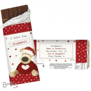 Personalised Milk Chocolate Bar - Boofle Christmas Love