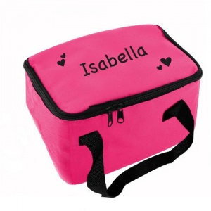Personalised Pink Lunch Bag - Hearts